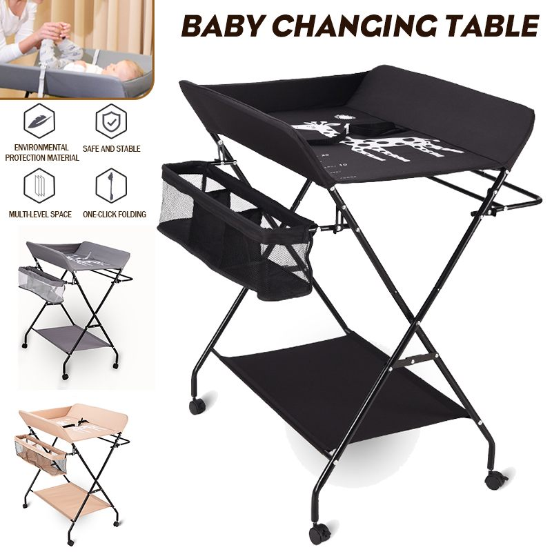 Baby Changing Table with Wheel Foldable Height Adjustable Portable Newborns Diaper Chang Table