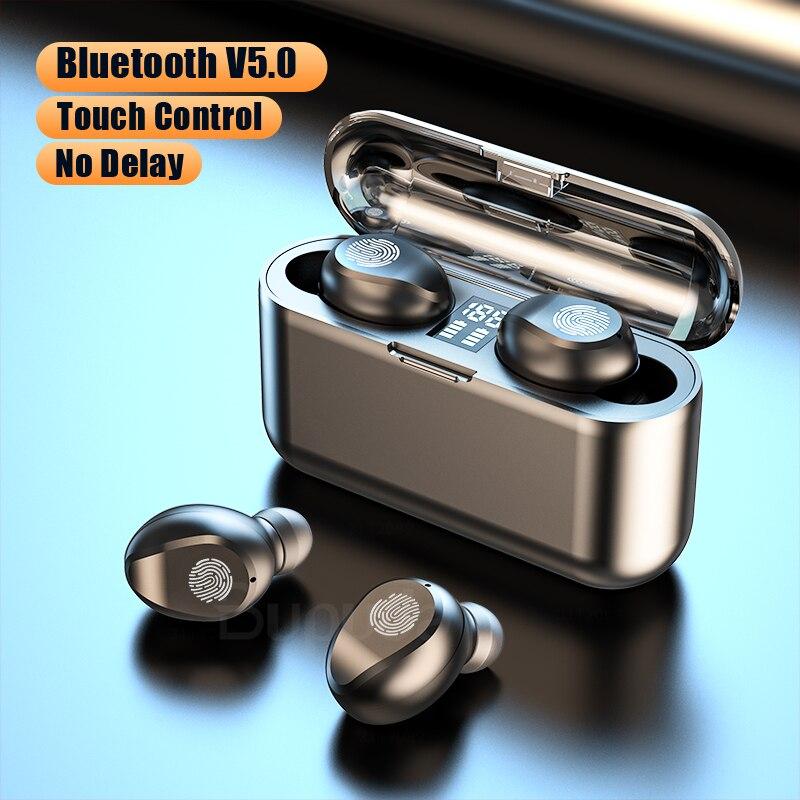 Наушники-вкладыши TWS Bluetooth наушники для телефона сенсорный экран Управление светодиодный Мощность Дисплей Беспроводной наушники, наушники ...