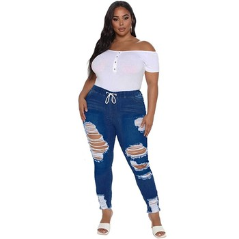 Ripped Jeans New Women Jeans 2021 Fashion High-waisted Solid Color Plus Size Stretch Vintage Pocket Frenulum Casual Pencil Jeans 1
