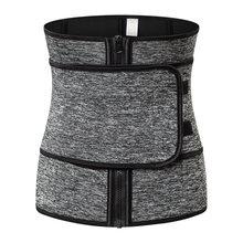 Grey Neoprene Shapewear Waist Corsets Zipper Shaper Women Body Slimming Belt Girdles Firm Trainer Cincher Plus Size