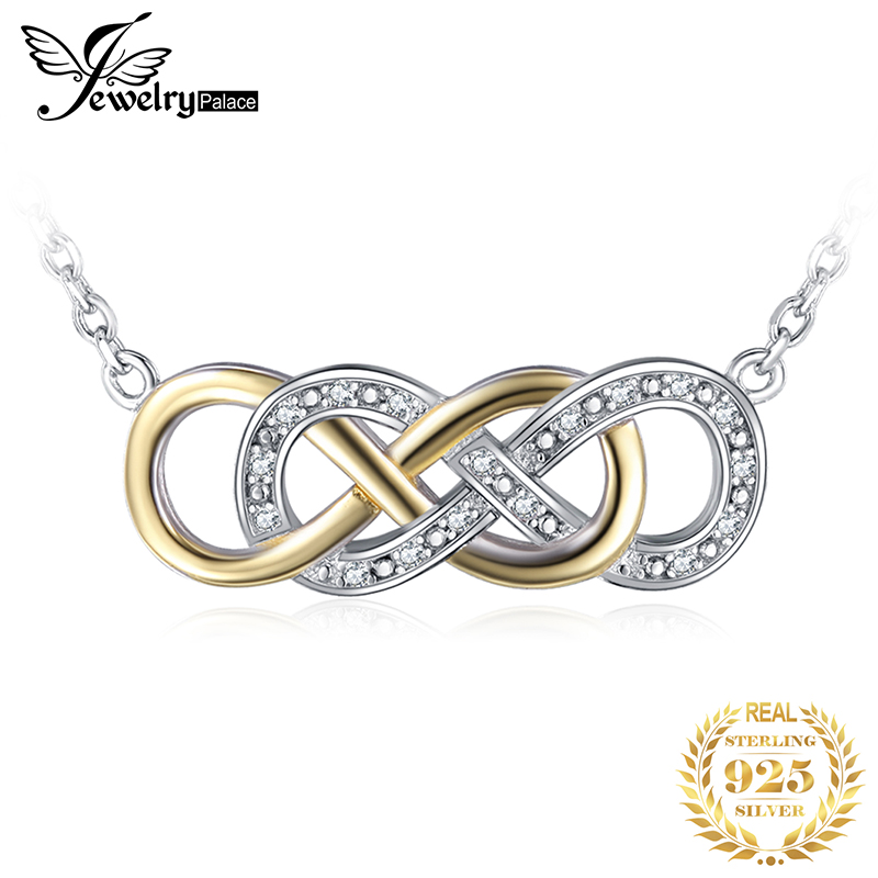 JewelryPalace Infinity 0.08ct Cubic Zirconia Necklace Genuine 925 Sterling Silver Jewelry for Women Gift  New Arrival
