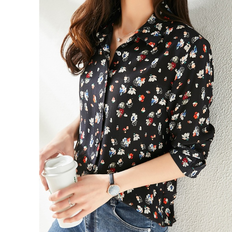 Mulberry Silk Blouses For Women Turn Down Collar Tops 2020 Long Sleeve Shirt Floral Summer Blouse Shirts Natural Silk Black