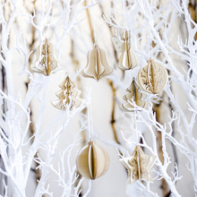 2020 Xmas tree New Year Party Home Decorations 5 in 1 Wood Slices Splicing 3D DIY Christmas Pendants with Hang String