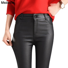 2019 Winter Women Faux Leather Pants & Capris PU Elastic High Waist Trousers Stretchy Slim Pencil Pants Leggings Female Black contrast faux leather elastic waist leggings