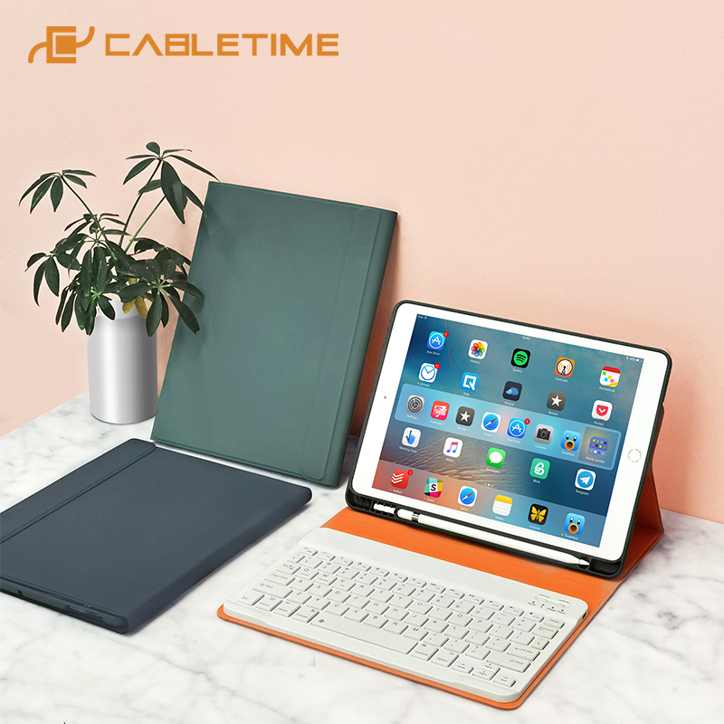 CABLETIME For iPad 7th 8th 10.2 Generation Keyboard Case Bluetooth No delay with Pencil Holder for iPad 2019 2020 Case C394