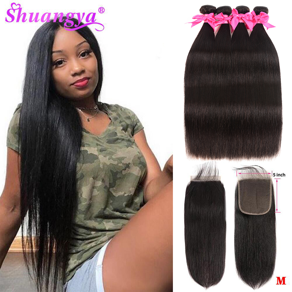 Straight Hair Bundles With Closure 4x4/5x5 Closure With Bundles Remy Human Hair 3 Bundles With Closure Indian Hair Extension