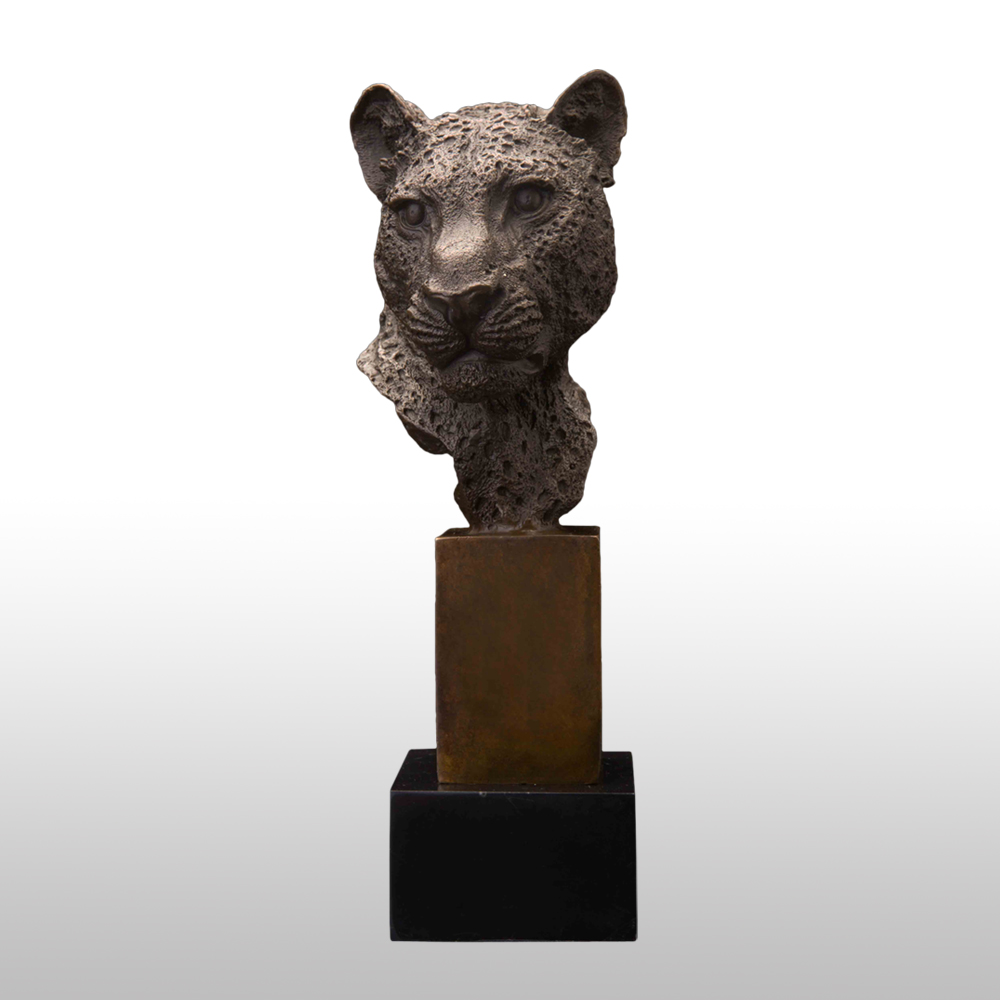 21CM Bronze Leopard Head Statue Figurine Wildlife Animal Panther Sculpture With Marble Base