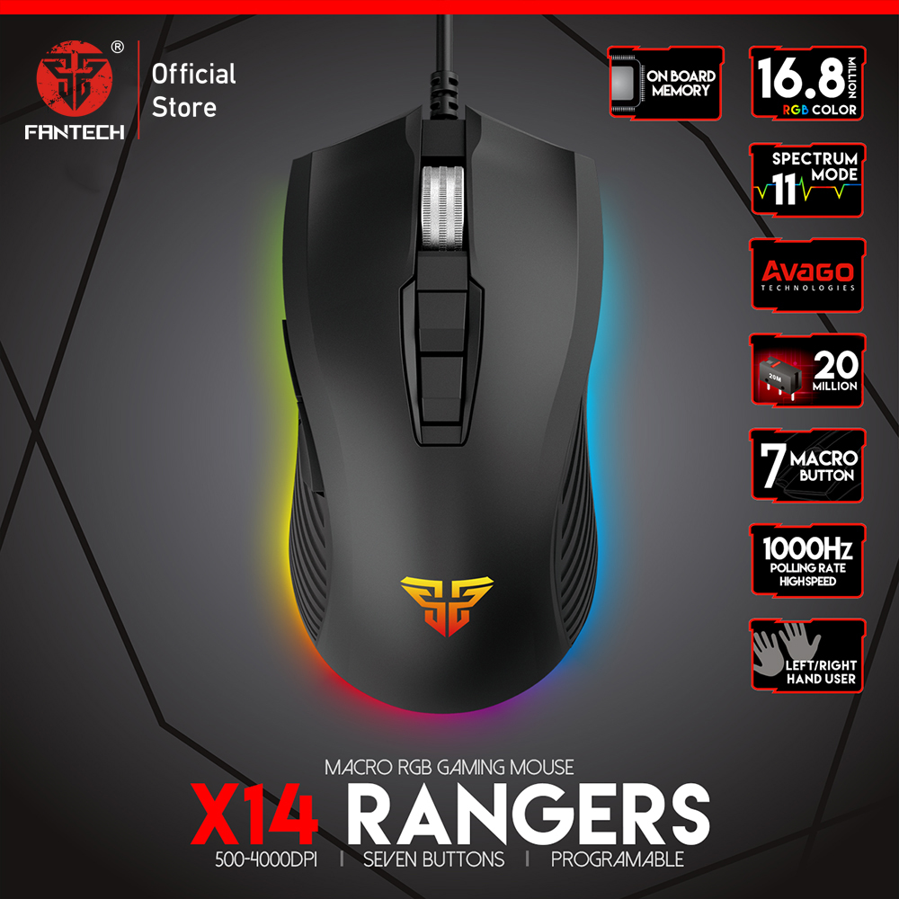 FANTECH X14 Optical Adjustable 4800 DPI 7D Macro Professional Wired Gaming Mouse For Mouse Gamer Essential Ergonomic Mouse Mice-in Mice from Computer & Office