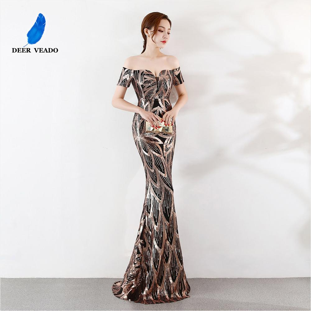 DEERVEADO Sexy Boat Neck Sequin Formal Evening Dress Long Mermaid Occasion Party Dresses Robe De Soiree K1371