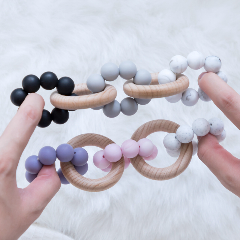 Baby Teethers Beech Wooden Rattles Teething Rodent Tiny Rod Baby Toys Pendant For Newborn Feeding Double Wood Rings Bracelet