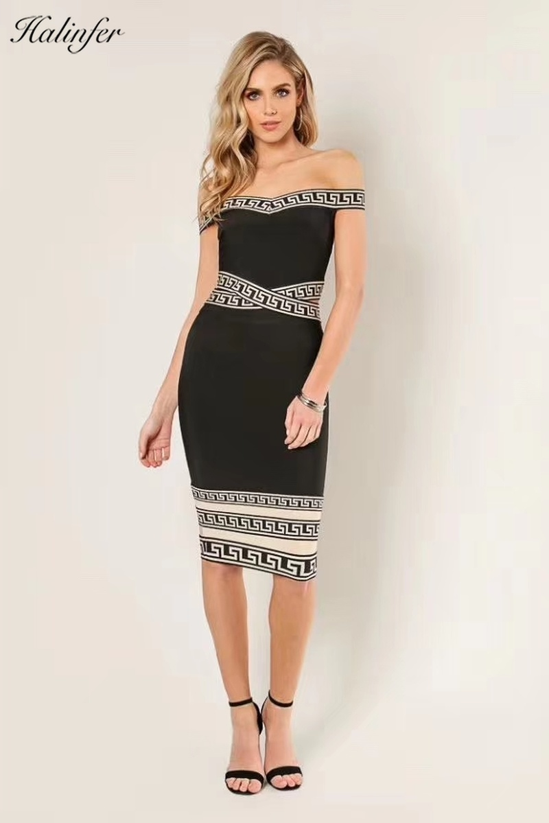Halinfer <font><b>2019</b></font> new <font><b>summer</b></font> women <font><b>dress</b></font> <font><b>sexy</b></font> <font><b>bodycon</b></font> slash neck sashes bandage <font><b>dress</b></font> formal homecoming party <font><b>black</b></font> <font><b>dresses</b></font> vestidos image