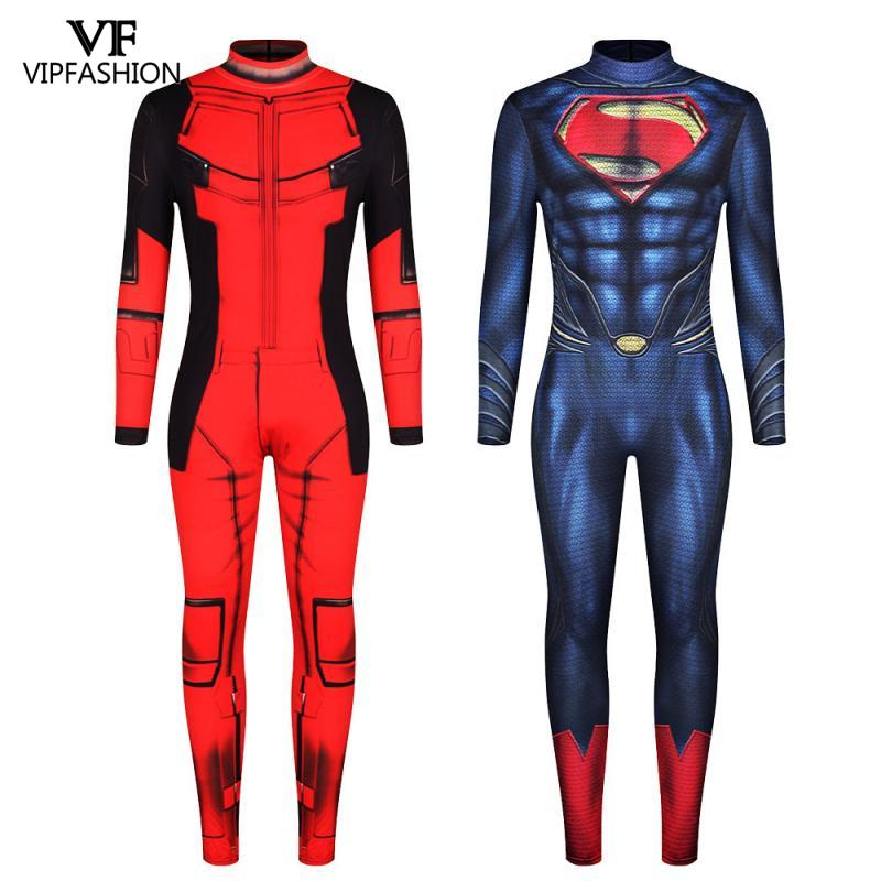 VIP FASHION New Deadpool Cosplay Costumes For Men Jumpsuit Muscle Cosplay Super Hero Superman Printed Comic Zentai Costumes