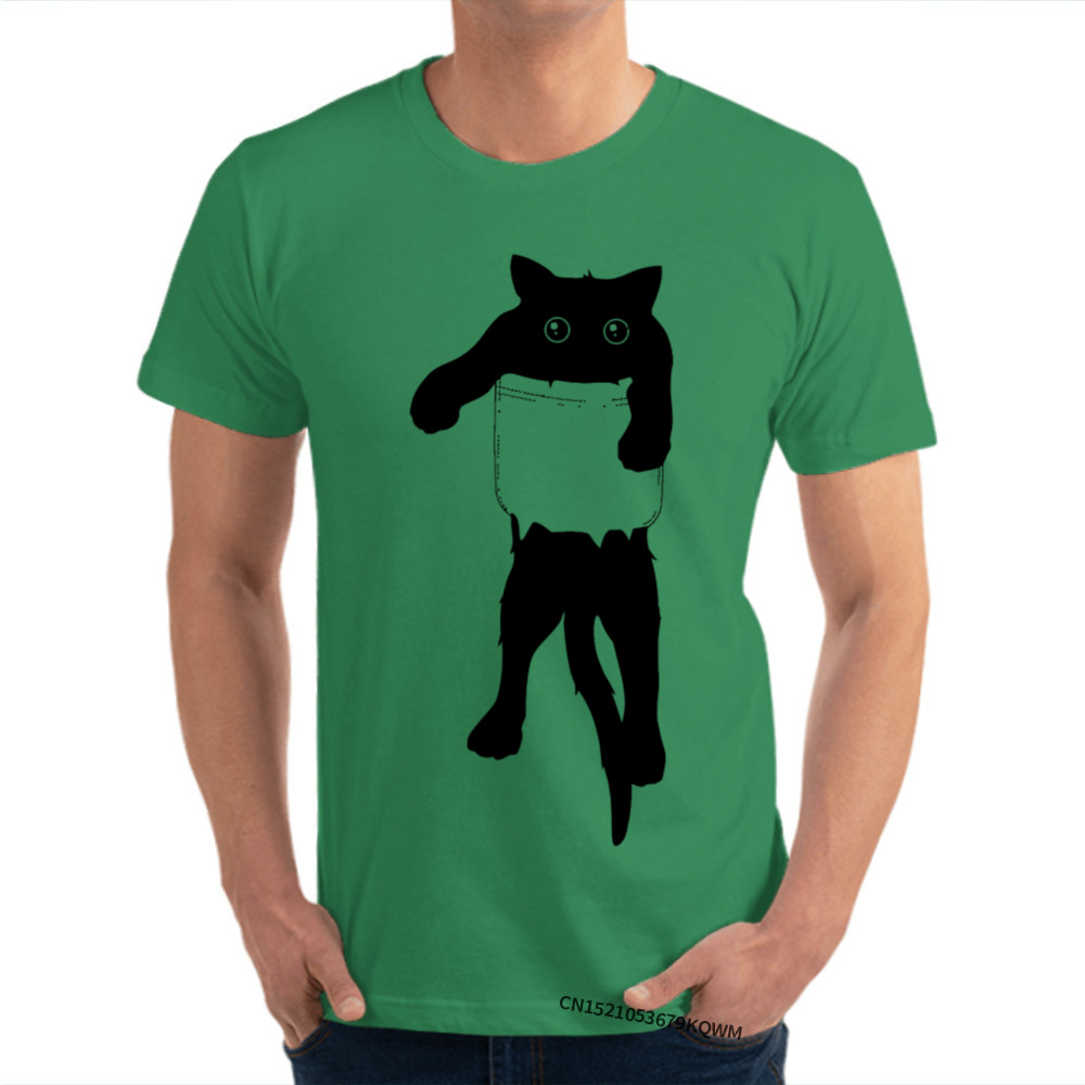 Men's Cotton Tee Shirt Cat in pocket 100% Cotton  Men's Short Sleeve T Shirt Funny Tops T Shirt Designer Printed Top T-shirts
