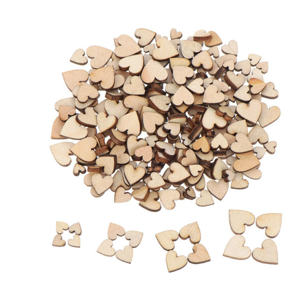 100PCS Cute 4 Sizes 6/8/10/12mm Mixed Love Heart Shape Wedding Table Scatter Decor Rustic Wooden Wedding Decoration Buttons