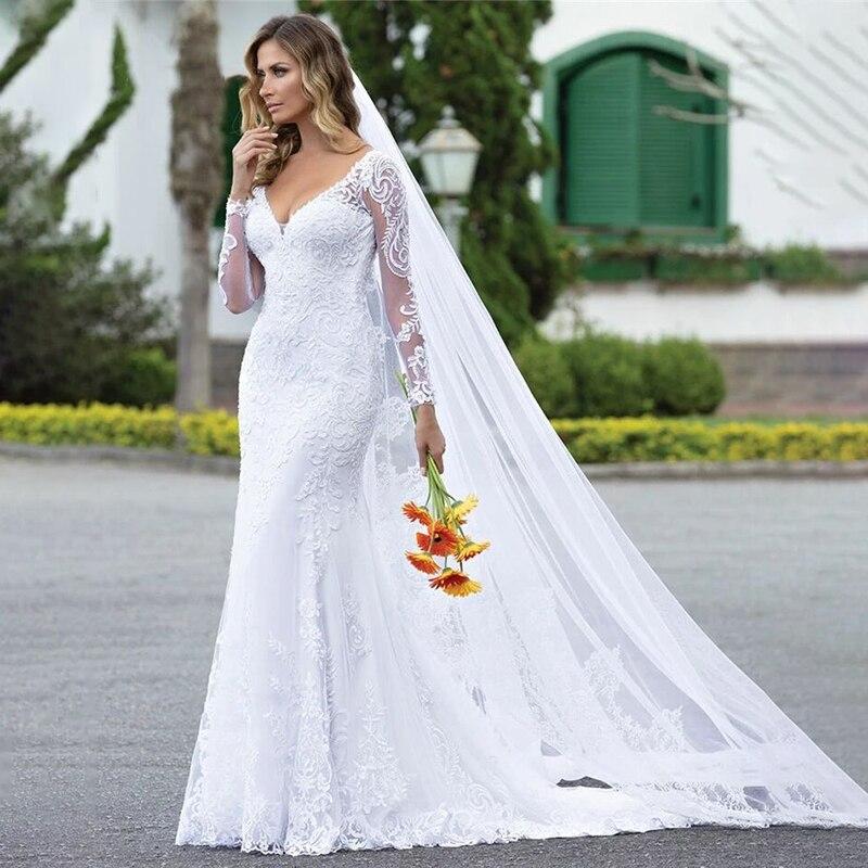 MYYBLE Custom Made 2020 New Design Wedding Dresses Mermaid V-neck Long Sleeve Tulle Lace Beading Elegant Sexy Wedding Gowns