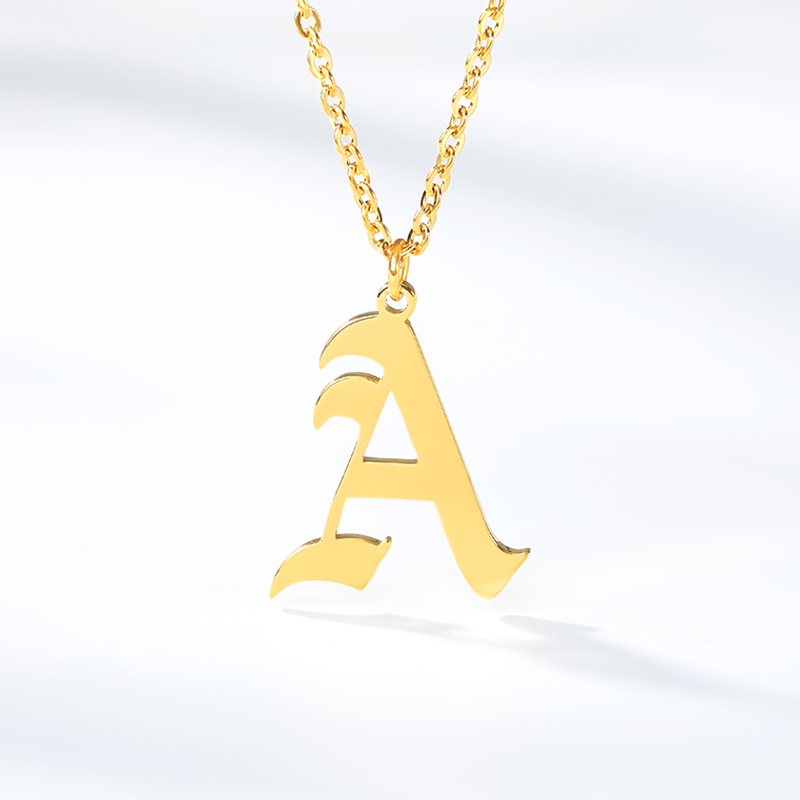 A-Z Initial Letter Necklaces For Women Men Gold Silver Color Stainless Steel Chain Male Female Alphabet Pendant Necklace Jewelry(China)
