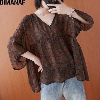 DIMANAF Summer Plus Size Women Blouse Shirts Clothing Chiffon Elegant Lady Tops Tunic Vintage Floral Print Casual Loose Oversize