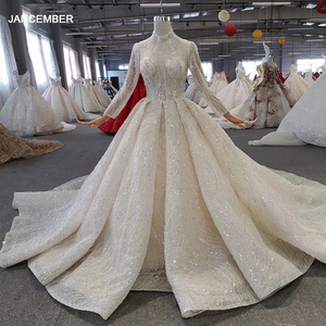 Image 1 - HTL272 Sparkly Wedding Dress 2020 With Popular Metallic Line High Neck Appliques Handmade Beading Ball Gown