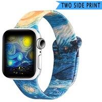 Doppel Seite Gedruckt Silikon Strap für Apple Uhr Band 40mm 44mm 38mm 42mm Sport Handgelenk Armband für iwatch serie 6 SE 5 4 3 2