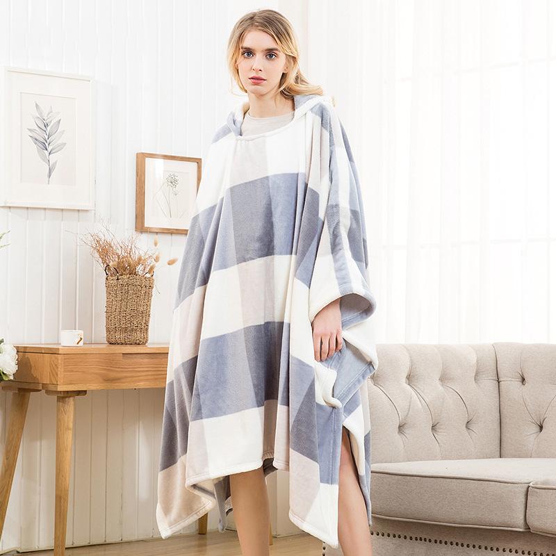 Winter Thick Sofa Comfy TV Blanket Hoodie Sweatshirt Weighted Throw Blanket Fuzzy Fleece Plaid Blanket Fleece Blanket Adult Kids 19