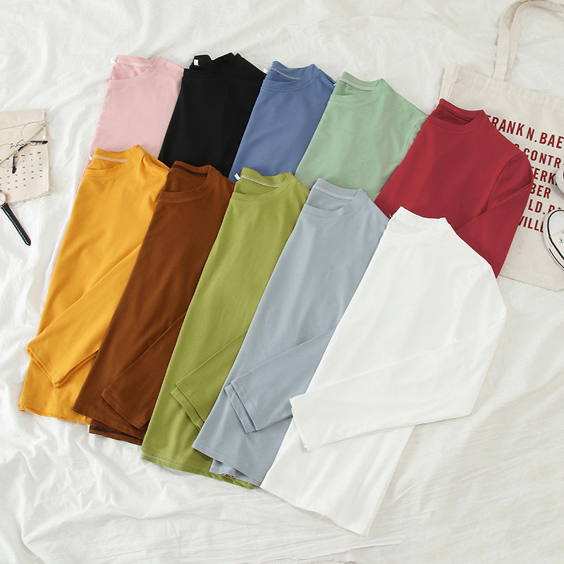 Korean Solid Color Women Bottoming T Shirt Spring Autumn Long Sleeve O Neck Pink White Top Harajuku Casual Loose Female T-shirts