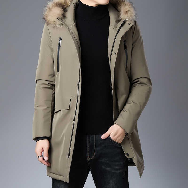 Высший сорт, новинка 2019, зимний модный брендовый пуховик с капюшоном, мужской пуховик на утином пуху, уличная одежда, пуховое пальто, длинная теплая мужская одежда