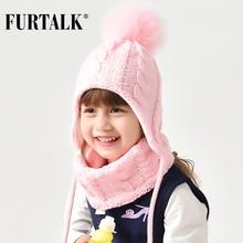 FURTALK Kids Winter Pompom Hat Scarf Set for Girls Boys Baby Knit Hat Soft Warm Pom Ears Hats Winter Child Cap 2 6 years old