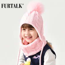 FURTALK ילדים חורף פומפונים כובע צעיף סט עבור בנות בני תינוק לסרוג כובע רך חם פום אוזני כובעי חורף ילד כובע 2 6 שנים