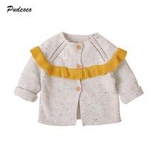 Коллекция года, Брендовое пальто для новорожденных, для детей возрастом от 3 до 24 месяцев пальто для девочек зимняя теплая вязанная хлопковая куртка на пуговицах с оборками в стиле пэчворк милая детская верхняя одежда