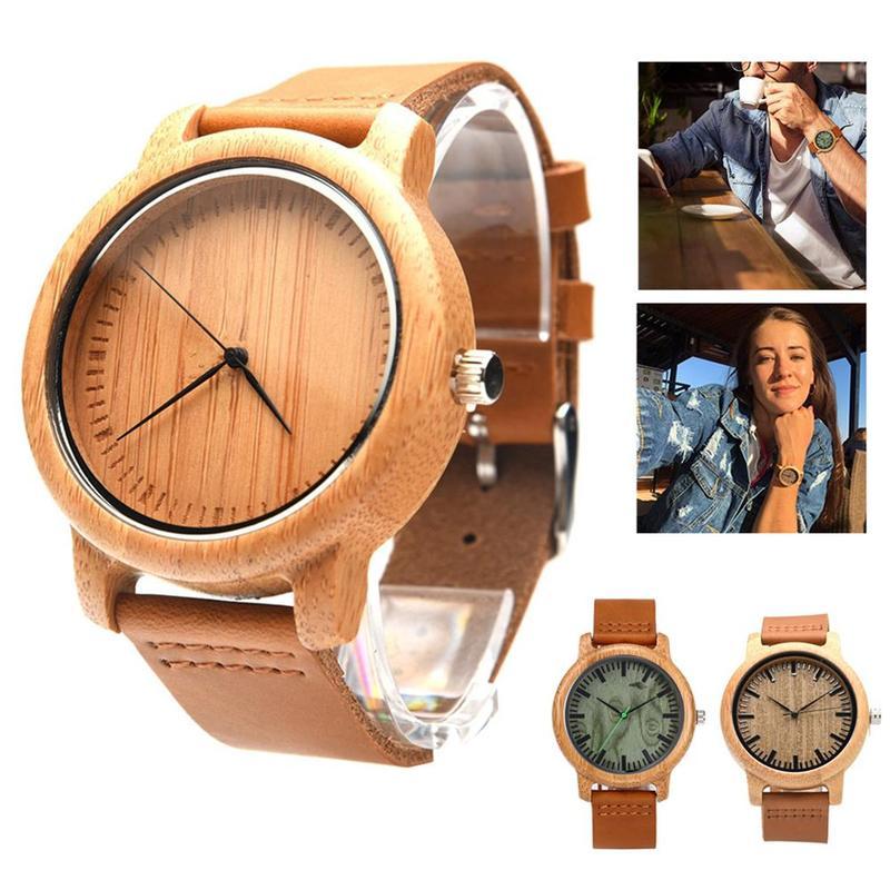 1pc Bamboo Wood Watch New Leather Wooden Men's Watch Handmade Bamboo Novel Fashion Bangle Quartz Wrist Watch Reloj Hombre|Quartz Watches| |  - title=
