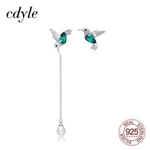 Image 1 - Cdyle 925 Sterling Silver Bird Earrings Embellished with Crystal from Swarovski Stud Earrings for Women Piercing Oreja