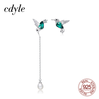 Cdyle 925 Sterling Silver Bird Earrings Embellished with Crystal from Swarovski Stud for Women Piercing Oreja - discount item  50% OFF Fine Jewelry