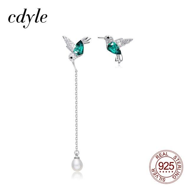 Cdyle 925 Sterling Silver Bird Earrings Embellished with Crystal from Swarovski Stud Earrings for Women Piercing Oreja
