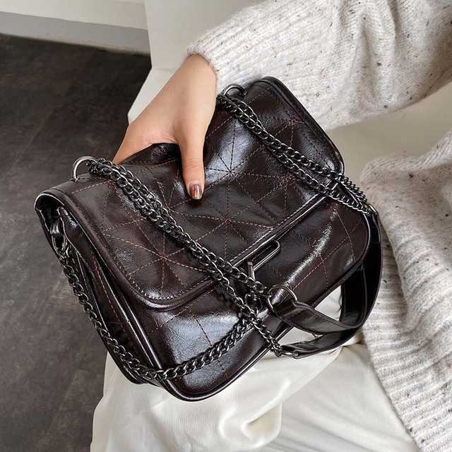 Soft PU Leather Crossbody Bags For Women 2020 Chain Design Shoulder Messenger Bag Lady Small Handbags Black Bags