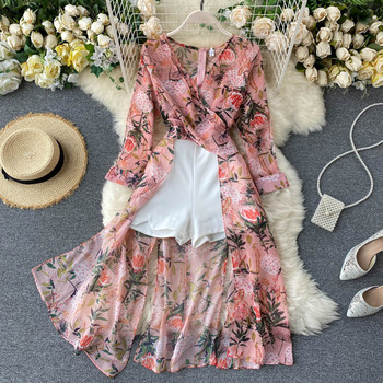FTLZZ New Spring Summer Women Casual Floral Print Two Piece Set Long Sleeve Asymmetrical Chiffon Shirt and White Shorts 1