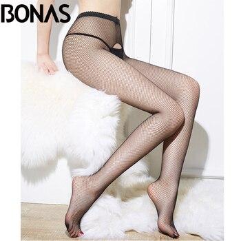 BONAS Women  Fishnet Tights  Sexy Club Tights Open Crotch Mesh Net Pantyhose Black Nylon Delight Hollow Female Stockings Collant mesh panel tights