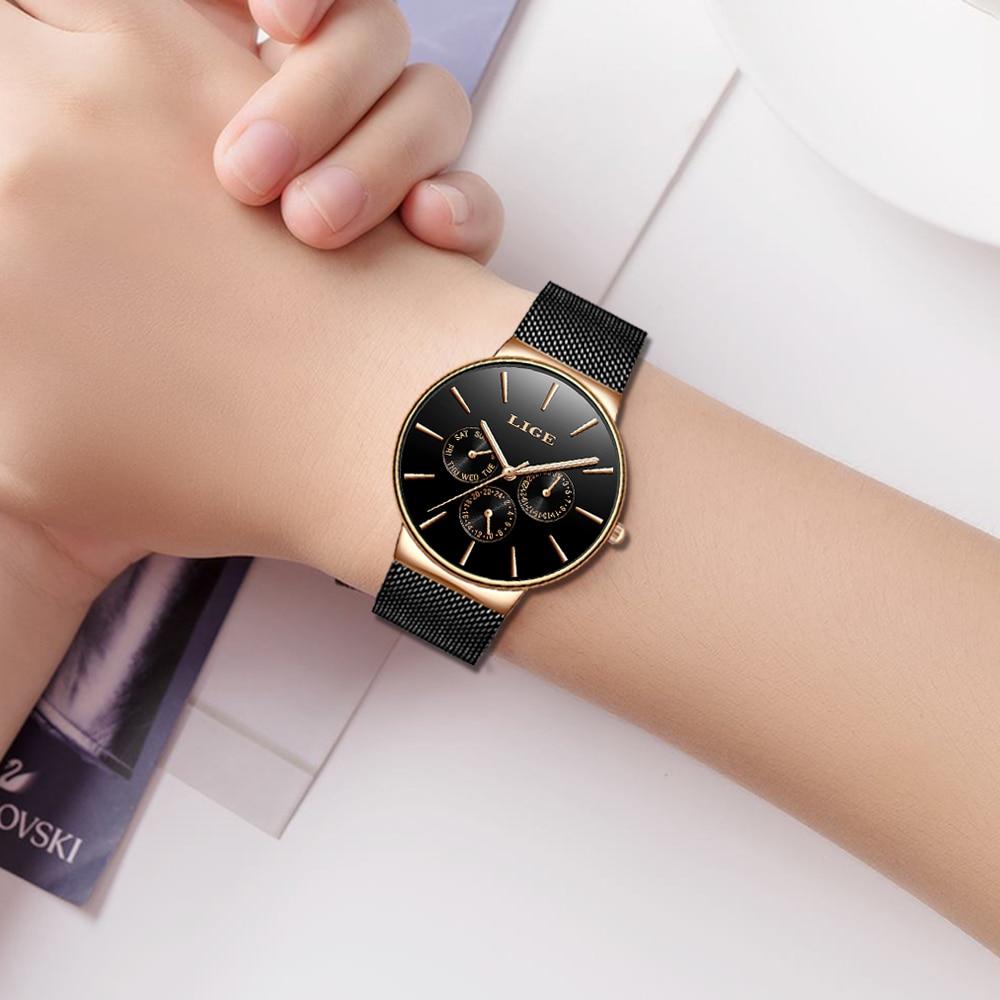 2020 Watches Women Super Slim Mesh Stainless Steel LIGE Top Brand Luxury Casual Quartz Clock Ladies WristWatch Relogio Feminino 5