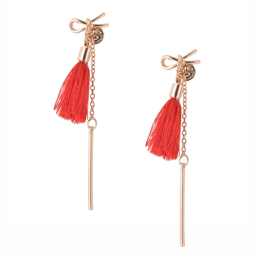 CARTER LISA Small Gold Bow Drop Earrings Vintage Tassel Earrings Woman Jewelry  Female Women Korean Style Earrings Boho Jewelry