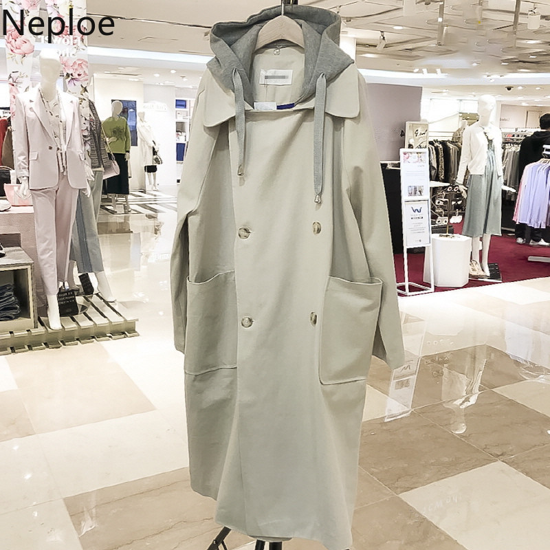 Neploe Autumn Winter New Trench Coat Women Mid Long Hooded Maxi Loose Ropa Mujer Straight Patch Casual Moda Female 2020 46609