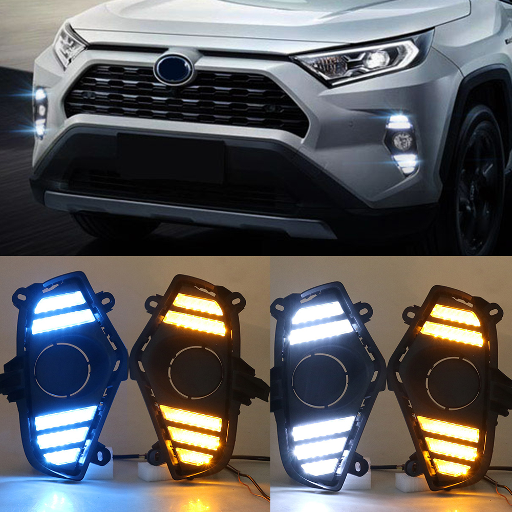 Image 5 - Car Flashing 2Pcs DRL For Toyota RAV4 2019 2020 LED Daytime  Running Light Waterproof with flow Yellow Turn Signal BumperCar Light  Assembly