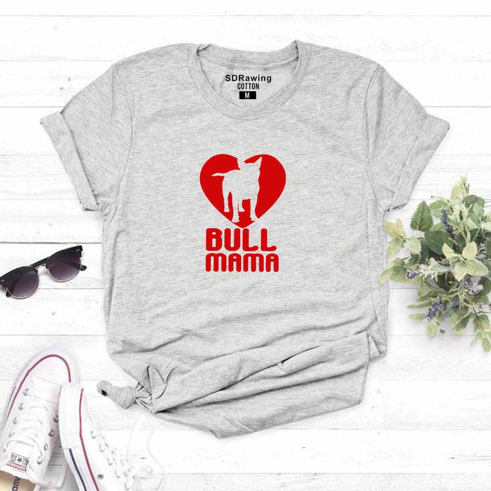 Women's Bull Terrier เสื้อยืด Bull Mama มือพิมพ์เสื้อ Bullterrier lover ของขวัญไอเดีย Psiakrew ผู้หญิงเสื้อยืดผ้าฝ้ายเสื้อ tees