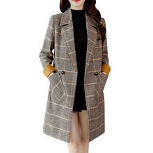 Women Wool Blends Coat Elegant Plaid Vintage Winter Warm Long Sleeve Button Woolen Jacket Pashmina Cashmere Blends Coat #38 cheap feitong Polyester Acrylic Wide-waisted Single Button REGULAR Turn-down Collar Full