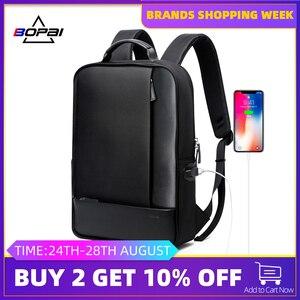 Image 1 - Bopai mochilas de viagem couro casual com 15.6 polegada portátil mochila 2 em 1 multifuncional uso diário saco viagem usb carga