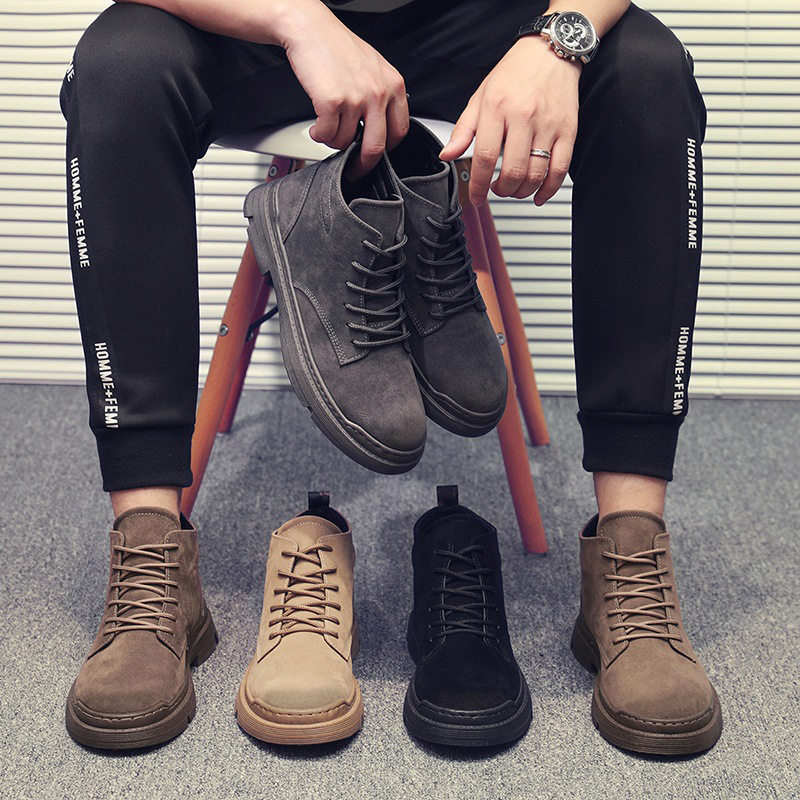 Men 2019 Autumn Winter Boots Men PU Leather Waterproof Timber Land Shoes Thick Bottom Increase Non-slip Chelsea Boots