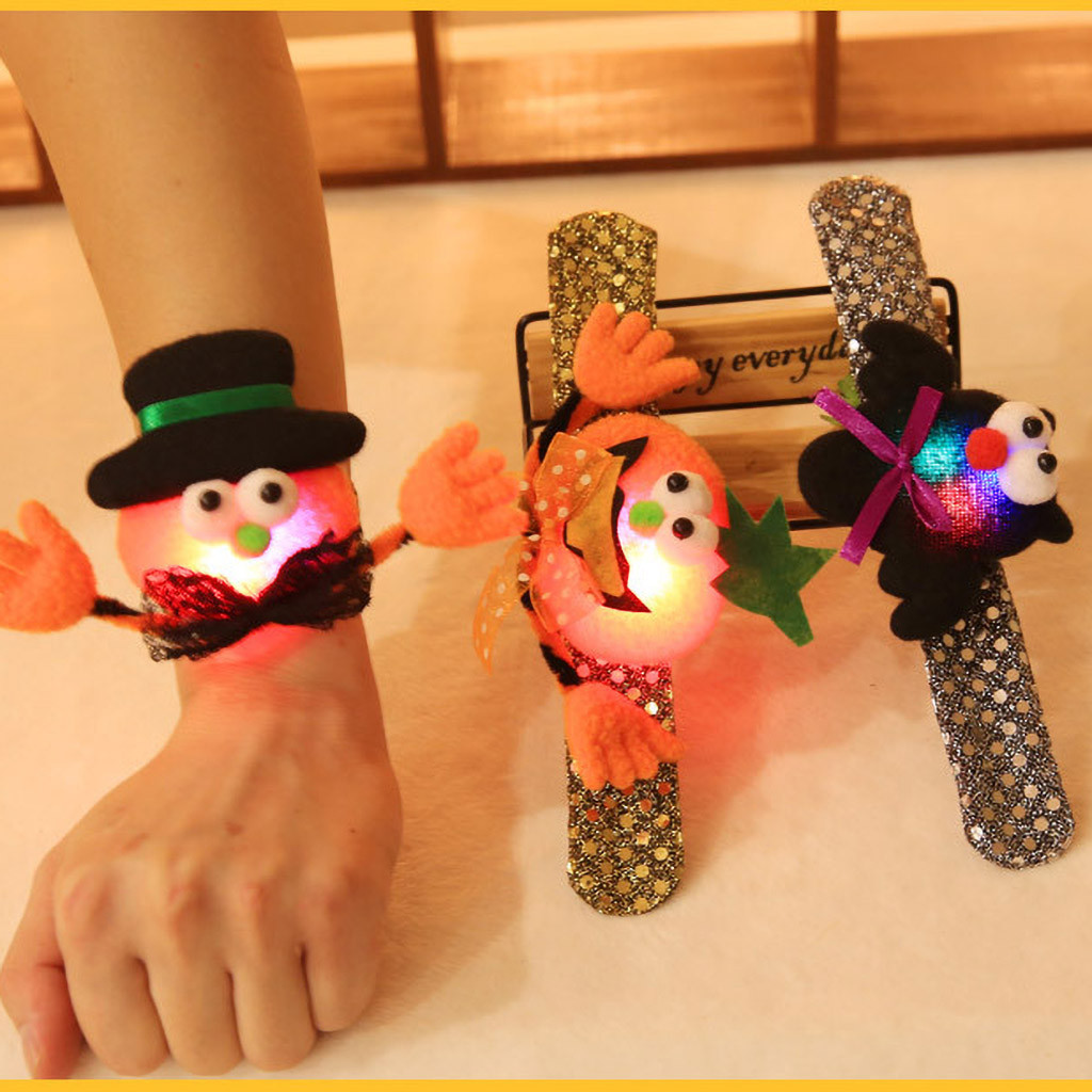 Pumpkin Funny Evil Bracelet Sparkling Bow Arm Warmers Halloween Dance Show Kids Pumpkin Bat Sequins Glow Decorative Bracelet #2