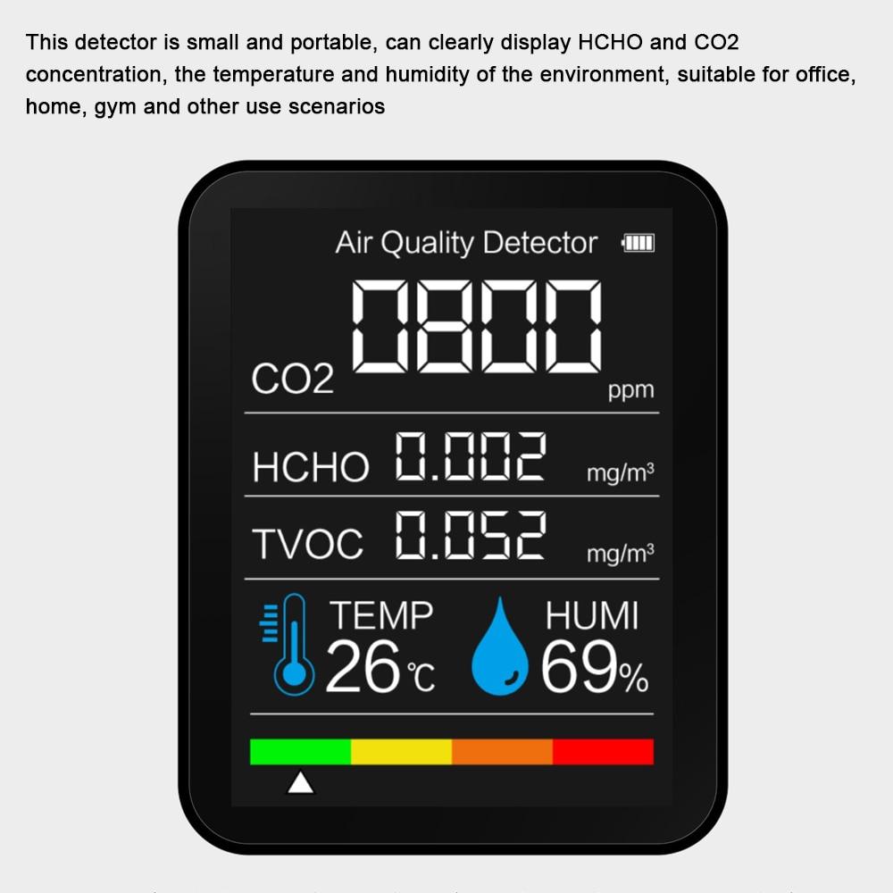 Novo detector de gás co2 medidor multifuncional casa qualidade do ar monitor temperatura e umidade tester display lcd com luz de fundo|Analisadores de gás|   -