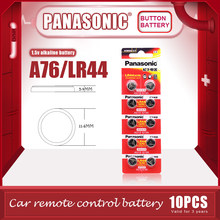 Panasonic baterias alcalinas lr44 a76 pçs/lote v, baterias alcalinas ag13 sr1154 1.5, botão, célula de bateria 357 hg para calculadora, 10 0%