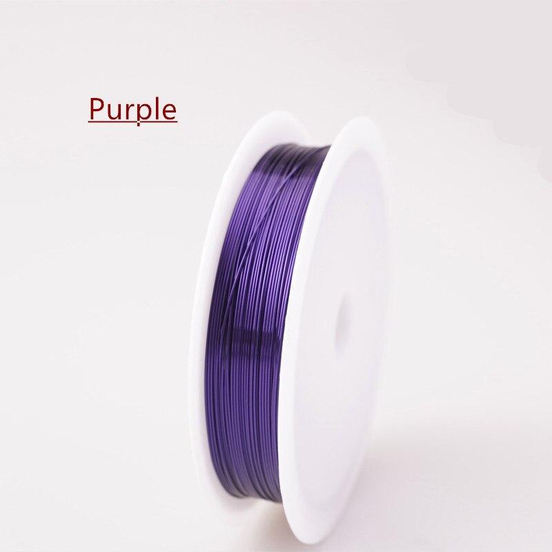 Четырехслойный разноцветный комбинезон серебро Медный провод для браслет Цепочки и ожерелья самодельные Украшения, Аксессуары 0,2/0,25/0,3/0,5/0,6/1,0 мм ремесло Бисер провода HK018 - Цвет: Purple