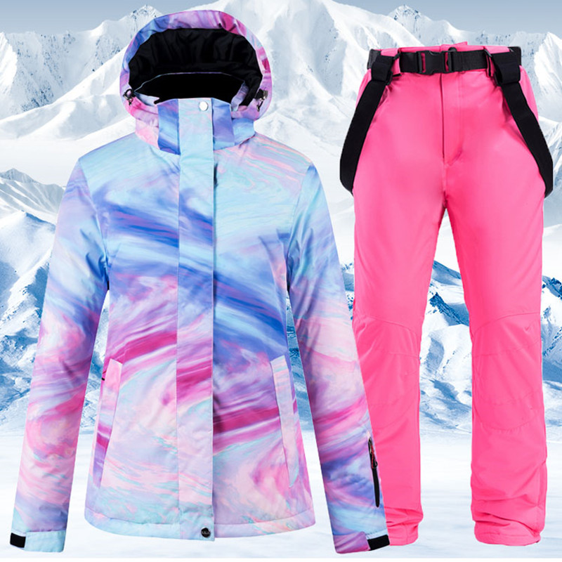 New Warm Colorful Ski Suit Women Waterproof Windproof Skiing and Snowboarding Jacket Pants Set Female Outdoor Snow Costumes