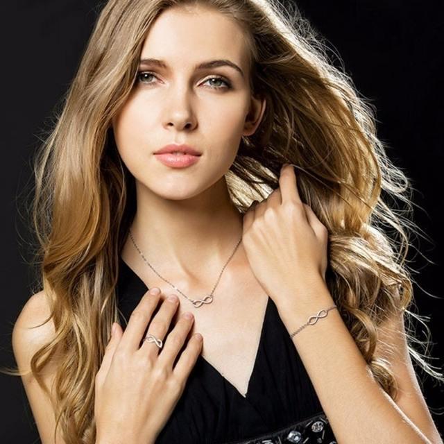 Infinity Ring +Bracelet+Necklace Set Endless Love Symbol